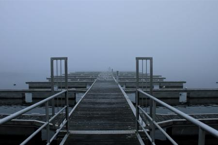 a bridge on a foggy autumn day