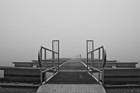 a bridge on a foggy autumn day photo