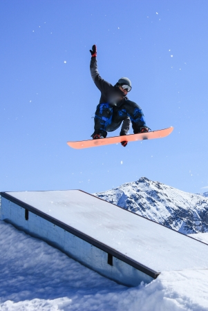 winter sport on a sunny day in the mountain Stock Photo
