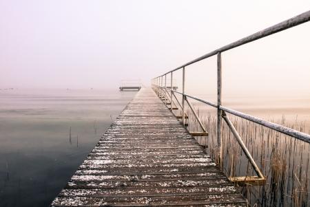 a lake on a foggy autumn morning photo
