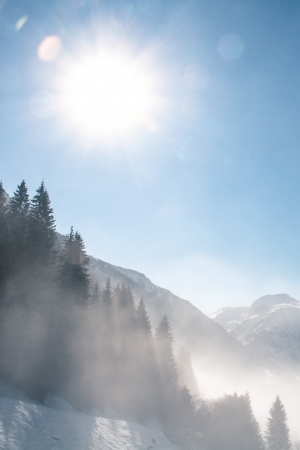 winter landscape in the mountain photo