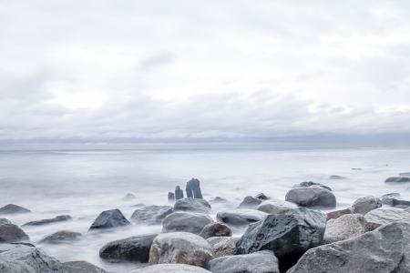 la costa este de Alemania, en una ma�ana de oto�o Foto de archivo