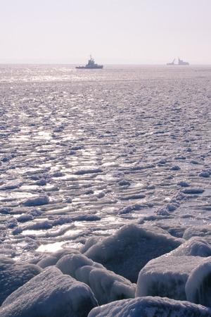 A ship in the winter sun