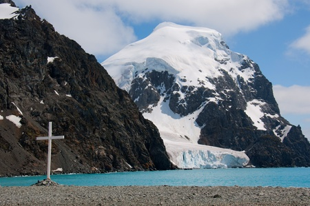 A lone cross in the South Orkneys commemorates the lives of seamen and explorers of Antarctica.