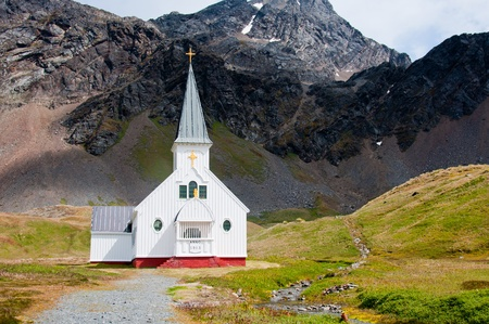 The Whalers Church on South Georgia Island overlooks the final resting place of famous explorer Ernest Shackleton.
