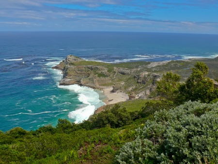 Looking west from  the coastal cliffs above Cape Point in the South Atlantic Ocean. Stock Photo