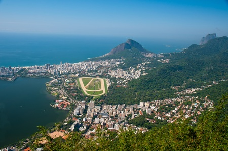 Views of Leblon,Jockey Club and Racetrack from Christ the Redeemer Statue, Corcovado Mountain