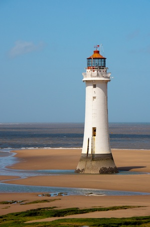 New Brighton Lighthouse, UK. Historic lighthouse guards the coastline along the River Mersey,England