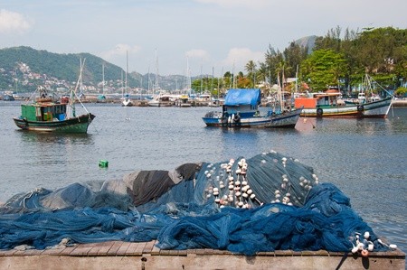work boat: Fishing Boats. Rio de Janeiro, Brazil.The fishing industry thrives on tourism to Rio. Stock Photo