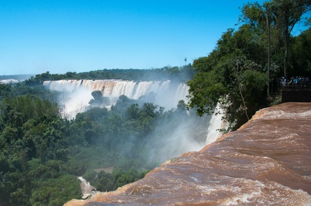 Iguazzu Falls. Tourists view the famous waterfalls on the border of Argentina and Brazil.