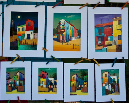 sightseers: Art display in La Boca, Buenos Aires, Argentina. Editorial