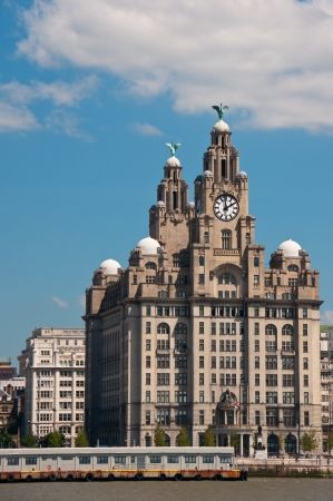 liverpool: Liverpool Liver Building, U.K. View from the River Mersey. Editorial
