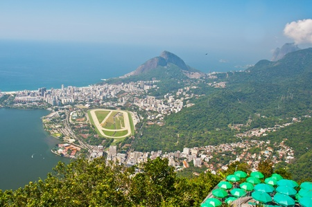 Panoramic view of Rio de Janeiro showing city and racetrack. Stock Photo