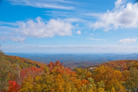 Mountain view with Fall foliage   A scenic overlook on the Blue Ridge Parkway with colorful Fall foliage  Stock Photo