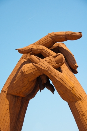 Gretna Green clasped hands, Scotland    Symbol of joining together in matrimony