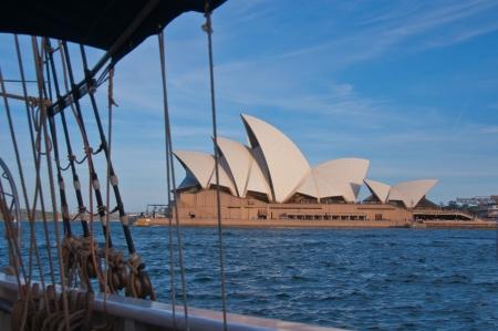 Vue depuis le pont d'un grand voilier �ditoriale