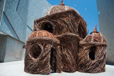 Woven sticks were used by American artist Patrick Dougherty to create his work, exhibited at Federation Square