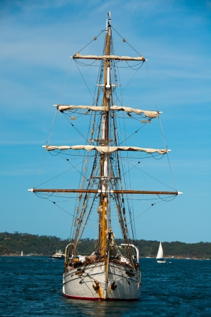 tall ship: A tall ship makes its way across Sydney Harbor