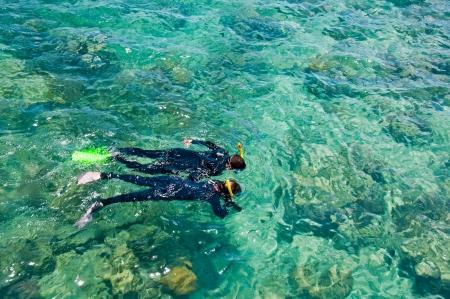 arrecife: Dos buceadores explorar la Gran Barrera de Coral, Australia Foto de archivo