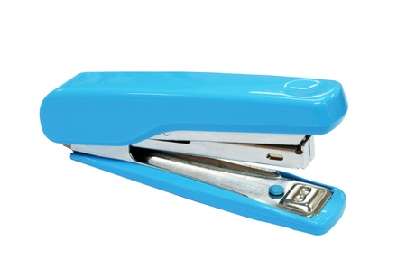 Blue stapler isolated on white photo