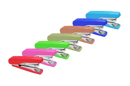 Seven color of stapler isolated on white
