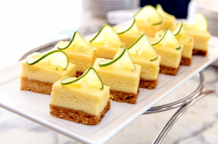 Mini lemon cheese cake on white dish