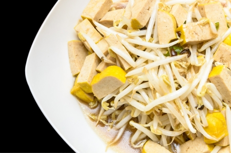 Fried bean sprouts and Soybean curd in sauce Stock Photo - 21728463