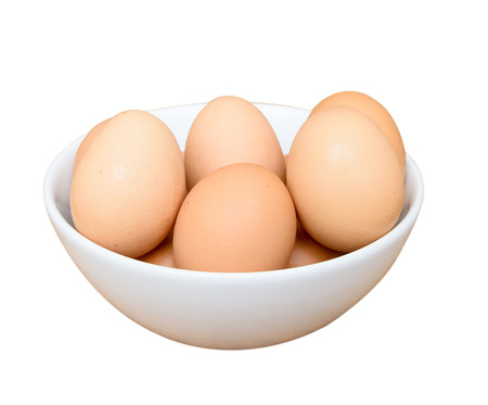 maturation: Eggs in white bowl isolated on white background Stock Photo