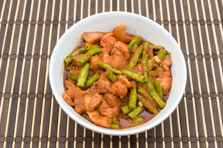 Extremely hot stir fried string bean with pork photo