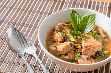 Spicy and Sour pork spare rib soup in thai style photo