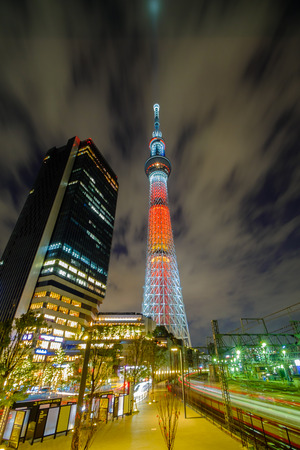 sumida ward: Tokyo, Japan - 14 Demcember 2014 : View of Tokyo Sky Tree (634m) at night. The second tallest structure in the world. Editorial