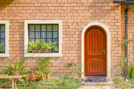 redbrick: Exterior and Front Door of a Beautiful Old House Stock Photo
