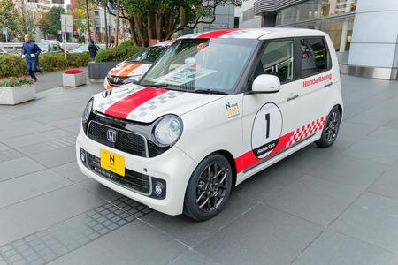honda: Tokyo, Japan. 10 December 2014 - Honda N1 showcase in front of Honda Office of tokyo.
