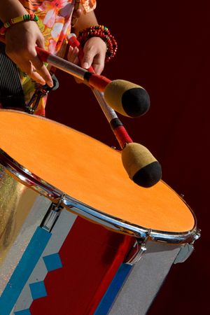 playing folk: playing the drum Stock Photo