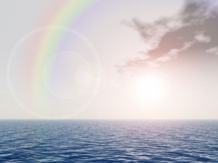 rainbow above sea photo
