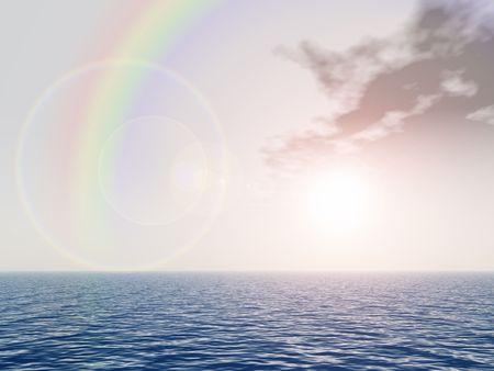 rainbow above sea Stock Photo
