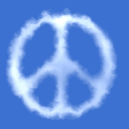 pacifist: Peace symbol. Cloud shape.