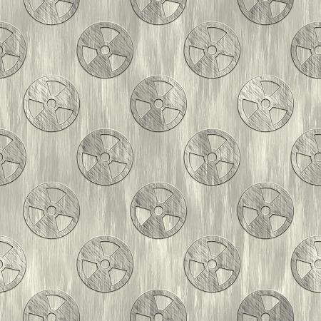 treadplate: Radiation sign. Metal pattern. Seamless texture.