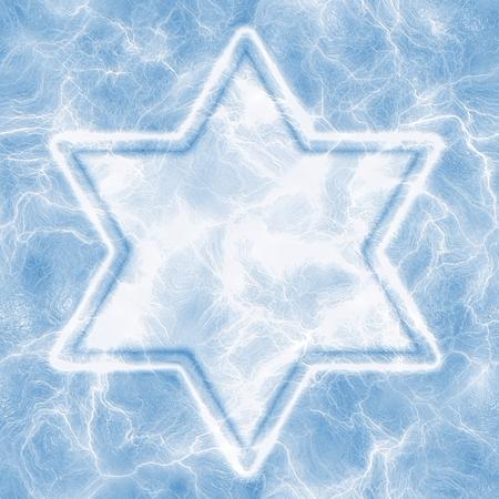 hannukah: Ice Star of David. Stock Photo