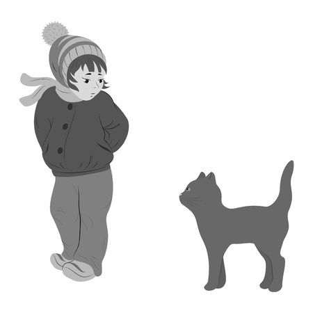 sad lonely girl: little girl and kitten. Shades of the gray Illustration