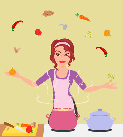 The housewife makes a vegetarian lunch Illustration