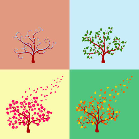 Seasonal tree, isolated on white background Vector