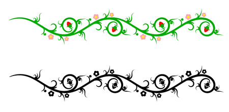 Borders, decorative flower elements in black-and-white and color Vector