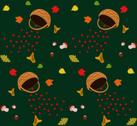 bast basket: Seamless pattern with  autumn leaves, berry, bast basket, mushrooms.