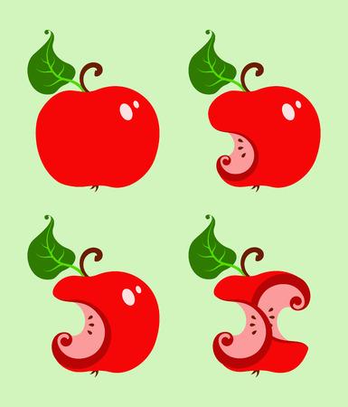 bitten: la manzana roja mordida, cuatro variaci�n Vectores