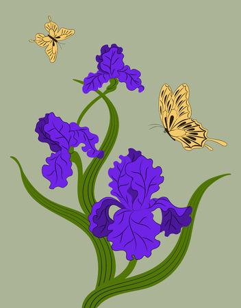 mariposas amarillas: tres lirios azules y mariposas amarillas