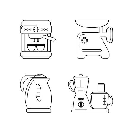 meat chopper: Kitchen appliances. Contour icon set