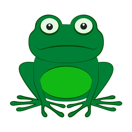 webbed: Green frog isolated on a white background Illustration