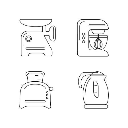 kitchen appliances: Kitchen appliances. Contour icon set