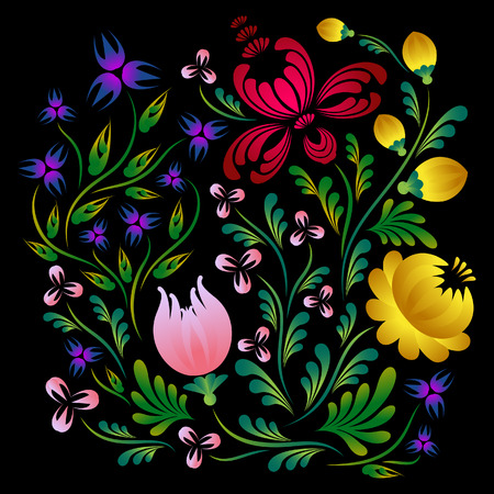 Bright flowers on a black background. Ethnic motifs